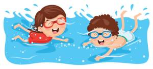 Vector Illustration Of Kid Swimming